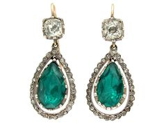 Antique Green & White Paste Drop Earrings - The Antique Jewellery Company
