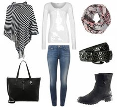 #Herbstoutfit Gestreift im Poncho ♥ #outfit #Damenoutfit #outfitdestages #dresslove