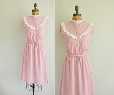 vintage candy stripe dress / 50s ruffle lace by simplicityisbliss, $78.00