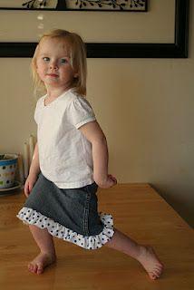 Jeans refashion into little girl's skirt