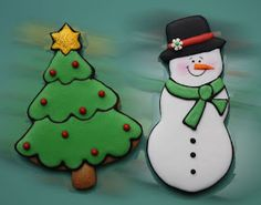 Christmas Cookies~                          By cuki chic, green Christmas tree, white snowman