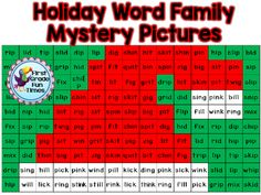 Holiday Word Family Mystery Pictures from First Grade Fun Times on TeachersNotebook.com - (26 pages) - Short Vowel and Long Vowel Mystery Pictures
