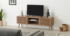 Tulma Wide TV Stand, Oak Effect   MADE.com Living Room Tv, Living Spaces, Tv Unit, Living Room Inspiration, Mid Century Design, Storage Solutions, Home Furnishings, Your Design, Cushions