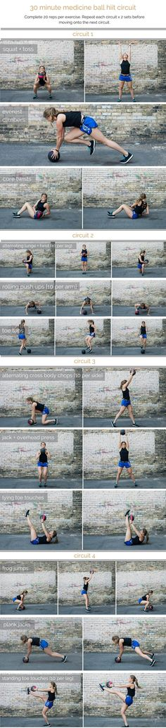 medicine ball hiit circuit workout is part of fitness - Combine cardio, strength and stability in this medicine ball HIIT circuit; a total body workout that you can do in 30 minutes or less Workout Playlist, Hiit Workout At Home, 30 Minute Workout, Butt Workout, At Home Workouts, Workout Circuit, Workout Ball, Pyramid Workout, Ball Workouts