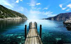 Paesaggi pontile lago montagna
