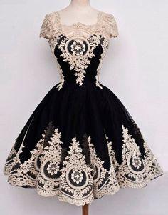 Homecoming Dress, A-Line Elegant Appliques Black Homecoming Dress,Short