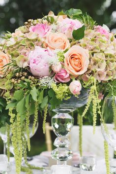 Wedding Centerpiece - dripping with gorgeous! See more wedding inspiration on #SMP: http://www.stylemepretty.com/destination-weddings/2013/12/09/london-garden-bridal-shoot/ Kristyn Harder Photography