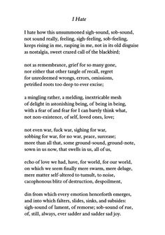 """I Hate"" by C.K. Williams 