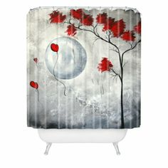 Amazon.com - DENY Designs Madart Far Side Of The Moon Shower Curtain, 69-Inch by 72-Inch - Red Shower Curtain