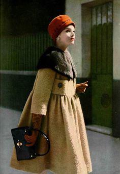 1958 Pierre Cardin/ Love this Camel Coat with collar. So stylish. Pierre Cardin, Vintage Glamour, Retro Vintage, Vintage Style, Vintage Dresses, Vintage Outfits, Estilo Preppy, Mode Chanel, Retro Mode