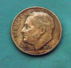 1953 D Roosvelt Dime Vintage Circulated 90% Silver Preppers Survivalists Coin  on facebook as ms. packrat..come like me..:)