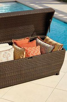 Keep your outdoor accessories like cushions, pillows and garden items stored and protected in the durable and stylish All-weather Wicker Storage Chest.
