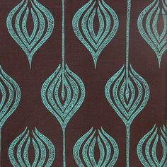 Printed Linen: Tulip Chocolate Turquoise by Allegra Hicks (http://www.allegrahicks.com)