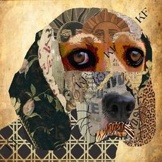 Benny  Limited Edition Collage Print of a Beagle dog  by KFGallery, $12.00