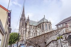 Colman's Catholic Cathedral in Cobh, County Cork, Ireland, has the largest number of Carillon Bells in Ireland and the UK bells). Gothic Cathedral, Roman Catholic, Catholic Churches, County Cork, Church Building, England And Scotland, Place Of Worship, Ireland Travel, Temple