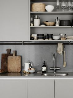 Shop kitchen essentials and accessories for New Nordic kitchen style and find inspiration for open shelf styling and minimal Scandinavian kitchen design. Kitchen Rails, Kitchen Ikea, Nordic Kitchen, Small Kitchen Storage, Scandinavian Kitchen, Open Kitchen, Kitchen Decor, Kitchen Organization, Kitchen Cabinets
