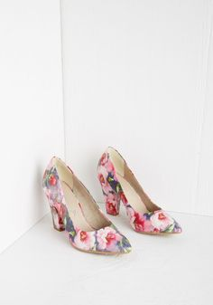 Abundant Poise Heel by BC Footwear - Pink, Floral, Print, Special Occasion, Prom, Wedding, Party, Daytime Party, Darling, Spring, Better
