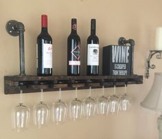 Industrial Wine Glass Wood & Iron Pipe Shelf by RoughIronForest