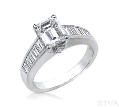 Emerald Cut Engagement Ring with Channel Set Baguettes