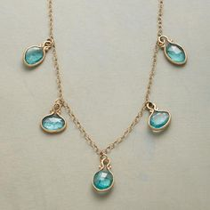 DROPS OF APATITE NECKLACE- model for my sunstone necklace creation