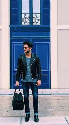make a statement with your gym bag // urban men // urban boys // mens wear // leather jacket // city life //