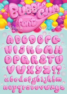 Font Bubble gum royalty-free font bubble gum stock vector art & more images of typescript