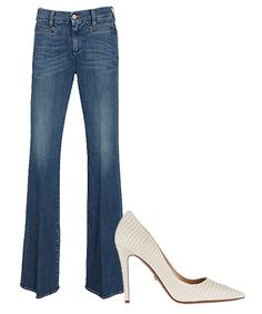 The Best Denim & Shoe Combos for Fall - For Date Night: Flares & Pointy-Toe Pumps from #InStyle