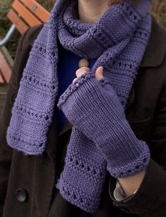 adf402b3ab729f Free Knitting Pattern for Montgomery Scarf and Mitts Set - Rows of garter  stitch eyelets give