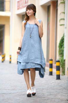 Two Layered Maxi Dress - Summer Dress in Blue- Linen dress for Women-Sleeveless…