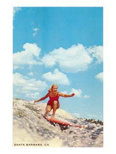 Girl Surfing, Santa Barbara, California Premium Poster