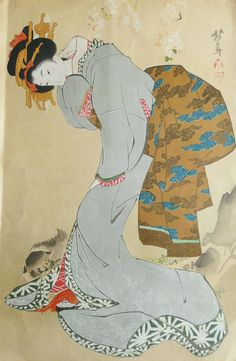 Circa 1890 antique japanese woodblock print by AntiquePrintsOnly, $48.00
