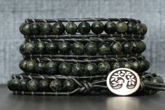 kambaba jasper wrap bracelet on pewter leather - green black and grey - mens or womens - boho western gypsy bohemian jewlery Handmade Jewelry Bracelets, Bohemian Gypsy, Metal Buttons, Unisex Fashion, Jasper, Pewter, Just For You, Beads, Green