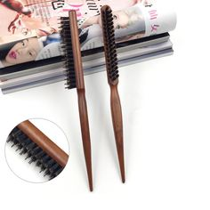 1PC Creative genuine three rows of hair comb the pig mane comb tip tail  wooden comb SE13 #Affiliate