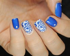 nail stamping white blue - Google Search