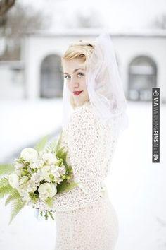 1940s Vintage Lace for a Winter Wonderland Wedding ~ A Bridal Photoshoot... | VIA #WEDDINGPINS.NET