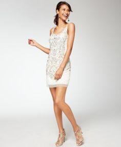 Adrianna Papell Beaded Sequined Sheath Dress