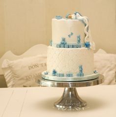 Baby boy christening cake with teddybears and baby on blanket <3