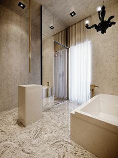 3 Gorgeous Apartment Interiors in Rich, Warm, Tones - House and Decoration Baths Interior, Apartment Interior, Home Interior, Luxury Interior, Bathroom Interior, Modern Bathroom, Large Bathrooms, Dream Bathrooms, Amazing Bathrooms