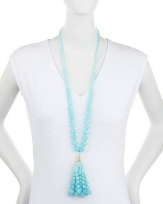 Y30GJ Lydell NYC Golden Beaded Bubble Tassel Necklace, Sky Blue