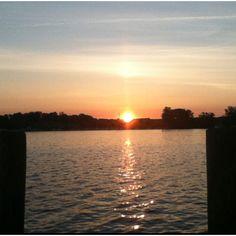 Sunrise at Port of Excelsior on Lake Minnetonka.