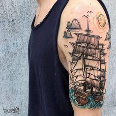 Half sleeve sailing ship tattoo by luca testadiferro. 13 Tattoos, Name Tattoos, Body Art Tattoos, Tattos, Dark Tattoo, Get A Tattoo, Tiny Tattoo, Tattoo Sleeve Designs, Sleeve Tattoos