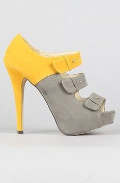 *Sole Boutique The Daisy Shoe in Gray and Yellow Shoe Boots, Pumps, Shoes Sandals, Shoe Bag, Yellow Fashion, Grey Fashion, Clown Shoes, Grey Yellow, Yellow Heels