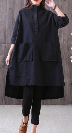 New cotton linen blouse Loose fitting Loose Irregular Stand Collar Long Sleeve Black Shirt - moda Iranian Women Fashion, Pakistani Fashion Casual, Pakistani Dresses Casual, Pakistani Dress Design, Muslim Fashion, Hijab Fashion, Fashion Dresses, Stylish Dresses For Girls, Stylish Dress Designs