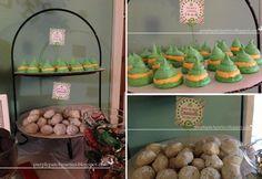 """Elf"" Movie Themed Christmas Party: meringue elf hats, snowball cookies"