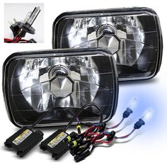 ModifyStreet 8000K Blueish White H42 Low Beam XenonHigh Beam Halogen Slim HID7X6 H6014H6052H6054 Crystal Headlights ** Click on the image for additional details.