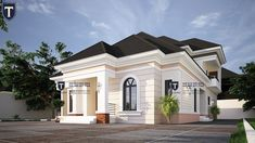 Four bedroom bungalow in Nigeria Modern Bungalow House Design, Modern Bungalow Exterior, Classic House Exterior, Modern House Facades, Duplex House Design, House Plans Mansion, My House Plans, Village House Design, Kerala House Design