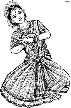 how to draw a girl dancing bharatanatyam