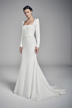 couture wedding dresses and bridal gowns by award winning UK bridal designer Suzanne Neville in her Flores 2020 Collection - Amber Simple Wedding Gowns, Wedding Dresses Uk, Wedding Dress Shopping, Designer Wedding Dresses, Bridal Dresses, Bridesmaid Dresses, Backless Wedding, Wedding Outfits, Suzanne Neville Wedding Dresses