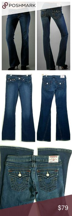 True Religion Joey Jeans True Religion Joey Jeans. Dark blue with factory fading. 5 pocket. Flap back pocket w/ buttons closure. No Frey.  Made in the USA. EUC.  Waist 15 Rise 7 Inseam 33.5  No Trade or PP  Bundle discounts  Offers Considered True Religion Jeans Flare & Wide Leg