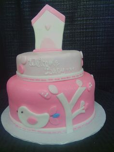 Pink Baby Shower Cake   Bird House